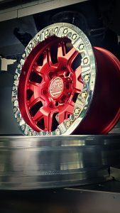 SMT American Forged Custom Red Powder Coat Off Road Wheels RS7