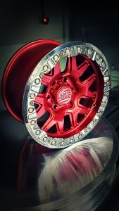 SMT American Forged Off Road Wheels RS7 with red polished powdercoat and chrome ring